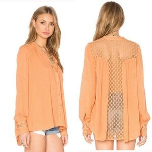 Free People Best Button Down Peach Top